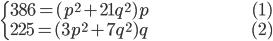 { \begin{cases}     386=(p^2+21q^2)p \hspace{100px}(1) \\     225=(3p^2+7q^2)q \hspace{100px}(2) \end{cases} }