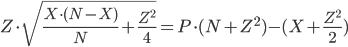 { \displaystyle \begin{align} Z\cdot\sqrt{\frac{X\cdot(N-X)}{N}+\frac{Z^{2}}{4} }  =  P\cdot(N+Z^{2}) - (X + \frac{Z^{2}}{2}) \end{align} }
