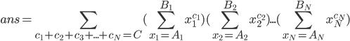 { \displaystyle ans = \sum_{c_1+c_2+c_3+...+c_N=C} ( \sum_{x_1=A_1}^{B_1} x_1^{c_1} )  ( \sum_{x_2=A_2}^{B_2} x_2^{c_2} ) ... ( \sum_{x_N=A_N}^{B_N} x_N^{c_N} )  }