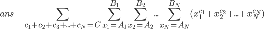 { \displaystyle ans = \sum_{c_1+c_2+c_3+...+c_N=C} \sum_{x_1=A_1}^{B_1} \sum_{x_2=A_2}^{B_2} ... \sum_{x_N=A_N}^{B_N} ( x_1^{c_1} + x_2^{c_2} + ... + x_N^{c_N} ) }