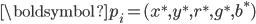 { \displaystyle \boldsymbol{p_i} = (x^\ast, y^\ast, r^\ast, g^\ast, b^\ast) }