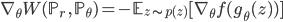 { \displaystyle \nabla_\theta W(\mathbb{P}_r\ ,\ \mathbb{P}_\theta) = -  \mathbb{E}_{z \sim p(z)} [ \nabla_\theta f(g_\theta (z)) ] }