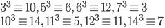 { \displaystyle 3^3\equiv 10,\ 5^3\equiv 6,\ 6^3\equiv 12,\ 7^3\equiv 3 \\ 10^3\equiv 14,\ 11^3\equiv 5,\ 12^3\equiv 11,\ 14^3\equiv 7 }