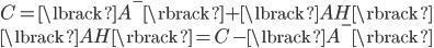 { \displaystyle C = \lbrack A^- \rbrack + \lbrack AH \rbrack \\ \lbrack AH \rbrack = C - \lbrack A^- \rbrack }
