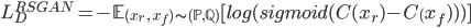 { \displaystyle L^{RSGAN}_{D} = - \mathbb{E}_{ (x_{r}\ , \ x_{f}) \sim (\mathbb{P},\mathbb{Q}) } [log(sigmoid(C(x_r) - C_(x_f)))] }