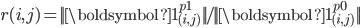 { \displaystyle r{(i,j)}={||\boldsymbol{1}^{p1}_{(i,j)}  ||}/{ || \boldsymbol{1}^{p0}_{(i,j)} || }  }