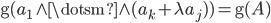 { \mathrm{g}( a_{1}\wedge\dotsm\wedge( a_{k}+\lambda a_{j} ) )=\mathrm{g}( A ) }