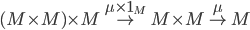 {(M\times M)\times M\overset{\mu\times 1_M}{\to}M\times M\overset{\mu}{\to}M}