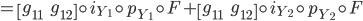 {= \begin{bmatrix}g_{11}& g_{12}\end{bmatrix}\circ i_{Y_1}\circ p_{Y_1}\circ F + \begin{bmatrix}g_{11}& g_{12}\end{bmatrix} \circ i_{Y_2}\circ p_{Y_2}\circ F}