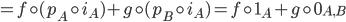 {= f\circ (p_A\circ i_A) + g\circ (p_B\circ i_A) = f\circ 1_A + g\circ 0_{A, B}}