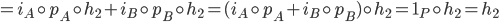 {= i_A\circ p_A\circ h_2 + i_B\circ p_B\circ h_2 = (i_A\circ p_A + i_B\circ p_B)\circ h_2 = 1_P\circ h_2 = h_2}