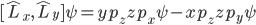 {[\hat{L}_x,\hat{L}_y]\psi=yp_z zp_x\psi-xp_z zp_y\psi}