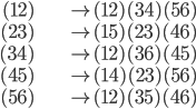 {\begin{align} (12)&\mapsto (12)(34)(56)\\ (23)&\mapsto (15)(23)(46)\\ (34)&\mapsto (12)(36)(45)\\ (45)&\mapsto (14)(23)(56)\\ (56)&\mapsto (12)(35)(46) \end{align}}