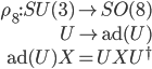 {\begin{align} \rho_8 : SU(3)\rightarrow SO(8)\\ U\mapsto {\rm ad}(U)\\ {\rm ad}(U)X=UXU^{\dagger} \end{align}}