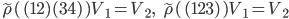 {\begin{align} \tilde{\rho}(\,(12)(34)\,)V_1=V_2,\ \ \ \tilde{\rho}(\,(123)\,)V_1=V_2 \end{align}}