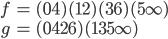 {\begin{align} f&=(04)(12)(36)(5\infty)\\ g&=(0426)(135\infty) \end{align}}