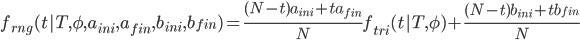 {\begin{eqnarray} f_{rng}(t   T, \phi, a_{ini}, a_{fin}, b_{ini}, b_{fin})=\frac{(N-t)a_{ini}+ta_{fin}}{N}f_{tri}(t   T, \phi) + \frac{(N-t)b_{ini}+tb_{fin}}{N} \end{eqnarray}}