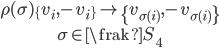 {\begin{gather} \rho(\sigma)\{v_i,-v_i\}\mapsto\{v_{\sigma(i)},-v_{\sigma(i)}\}\\ \sigma\in{\frak S}_4 \end{gather}}