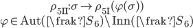 {\begin{gather} \rho_{{\bf 5}{\rm I\!I}} :  \sigma \mapsto \rho_{{\bf 5}{\rm I}}(\varphi(\sigma))\\ \varphi \in {\rm Aut}(\frak{S}_6)\backslash {\rm Inn}(\frak{S}_6) \end{gather}}
