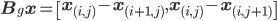 {\bf B}_g {\bf x} = \left[{\bf x}_{(i,j)} - {\bf x}_{(i + 1, j)},  {\bf x}_{(i,j)} - {\bf x}_{(i, j+1)}\right]