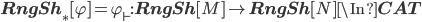 {\bf RngSh}_*[\varphi] = \varphi_\vdash : {\bf RngSh}[M] \to {\bf RngSh}[N] \In {\bf CAT}