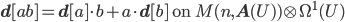 {\bf d}[ab] = {\bf d}[a]\cdot b + a\cdot {\bf d}[b] \mbox{ on }M(n, {\bf A}(U))\otimes \Omega^1(U)