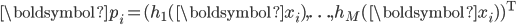 {\boldsymbol{p}_i = (h_1(\boldsymbol{x}_i), \ldots, h_M(\boldsymbol{x}_i))^{\mathrm{T}}}