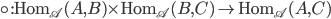 {\circ: \textrm{Hom}_{\mathscr{A}}(A, B)\times \textrm{Hom}_{\mathscr{A}}(B, C)\to \textrm{Hom}_{\mathscr{A}}(A, C)}