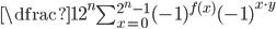{\dfrac{1}{2^n} \sum_{x=0}^{2^n-1} (-1)^{f(x)} (-1)^{x \cdot y}}