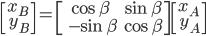 {\displaystyle \begin{bmatrix} x_B  \\\ y_B \end{bmatrix}= \begin{bmatrix} \cos \beta & \sin \beta \\\ -\sin \beta & \cos \beta \end{bmatrix}  \begin{bmatrix} x_A  \\\ y_A \end{bmatrix}\\ }