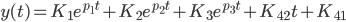 {\displaystyle y(t)=K_1 e^{p_1 t} + K_2 e^{p_2 t} + K_3 e^{p_3 t} + K_{42} t  + K_{41}\\ }