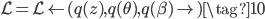 {\displaystyle  \mathcal L=\mathcal L\left(q(z),q( \theta),q(\beta) \right) \tag{10} }