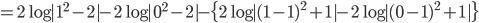 {\displaystyle =2\log|1^2-2|-2\log|0^2-2|-\{2\log|(1-1)^2+1| -2\log|(0-1)^2+1| \}}