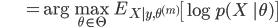 {\displaystyle \;\;\;\;\;\;\;\;\;\;\;\;\;\; = \mathrm{arg} \max_{\theta \in \Theta} \ E_{X|y,\theta^{(m)}} \left[ \log p(X \ |\theta) \right] }