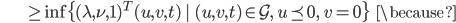 {\displaystyle \;\;\;\;\;\;\;\;\;\;\;\;\;\;\;\; \ge \inf \{ (\lambda,\nu,1)^T (u,v,t) \   \ (u,v,t) \in \mathcal{G}, \  u \preceq 0, \ v = 0 \}  \;\;\; \because }