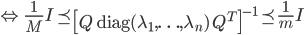 {\displaystyle \Leftrightarrow \ \frac{1}{M} I \preceq \left[ Q \ \mathrm{diag}(\lambda_1,\ldots,\lambda_n) \ Q^T \right]^{-1} \preceq \frac{1}{m} I }