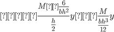 {\displaystyle σ=\frac{M×\frac{6}{bh^2}}{\frac{h}{2}}y=\frac{M}{\frac{bh^3}{12}}y}