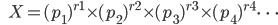 {\hspace{6pt}}X=(p_1)^{r1}{\times}(p_2)^{r2}{\times}(p_3)^{r3}{\times}(p_4)^{r4}{\cdots}