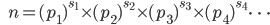 {\hspace{6pt}}n=(p_1)^{s_1}{\times}(p_2)^{s_2}{\times}(p_3)^{s_3}{\times}(p_4)^{s_4}{\cdots}