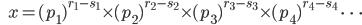 {\hspace{6pt}}x=(p_1)^{r_1-s_1}{\times}(p_2)^{r_2-s_2}{\times}(p_3)^{r_3-s_3}{\times}(p_4)^{r_4-s_4}\ {\cdots}