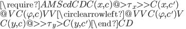 {\require{AMScd} \begin{CD} C(x, c) @>{\tau_x}>> C(x, c') \\ @V{C(\varphi, c)}VV \circlearrowleft @VV{C(\varphi, c')}V \\ C(y, c) @>>{\tau_y}> C(y, c') \end{CD}}