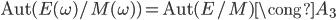 {\rm Aut}(E(\omega)/M(\omega)) = {\rm Aut}(E/M) \cong A_3