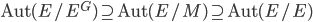 {\rm Aut}(E/E^G) \supseteq {\rm Aut}(E/M) \supseteq {\rm Aut}(E/E)
