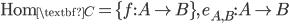 {\textrm{Hom}_{\textbf{C}} = \{f: A\to B\},\, e_{A, B}: A\to B}