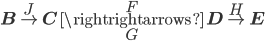 {{\bf B}\overset{J}{\to}{\bf C}\overset{F}{\underset{G}{\rightrightarrows}}{\bf D}\overset{H}{\to}{{\bf E}}}