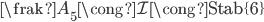 {{\frak A}_5\cong{\mathcal I}\cong{\rm Stab}\{6\}}