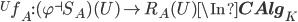 {}^U f_A: (\varphi^{\dashv}S_A)(U) \to R_A(U) \In {\bf CAlg}_K