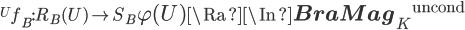 {}^U f_B:  R_B(U) \to  S_B\La \varphi(U)\Ra \In {{\bf BraMag}_K}^{\mathrm{uncond}}
