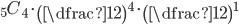{}_5C_4\cdot\left(\dfrac{1}{2}\right)^4\cdot\left(\dfrac{1}{2}\right)^1