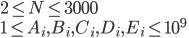 {2\leq N \leq 3000\\ 1\leq A_i,B_i,C_i,D_i,E_i\leq 10^9}
